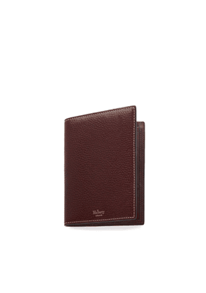 Mulberry Passport Cover Wallet in Oxblood Natural Grain Leather
