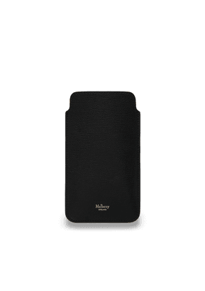 Mulberry iPhone Plus Cover in Black Cross Grain Leather