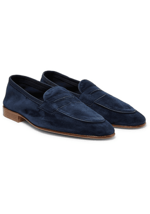 Edward Green - Polperro Leather-trimmed Suede Penny Loafers - Midnight blue