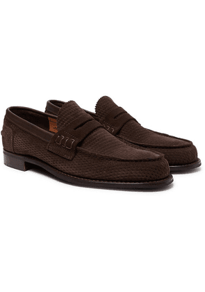 Cheaney - Dover D Perforated Suede Penny Loafers - Dark brown