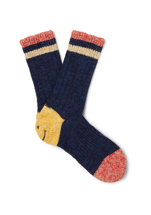 KAPITAL - Smiley Striped Mélange Cotton And Hemp-blend Socks - Navy