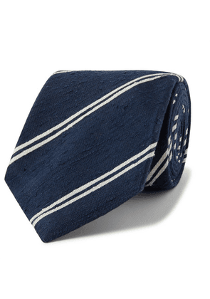 Kingsman - + Drake's 8cm Striped Slub Silk Tie - Storm blue