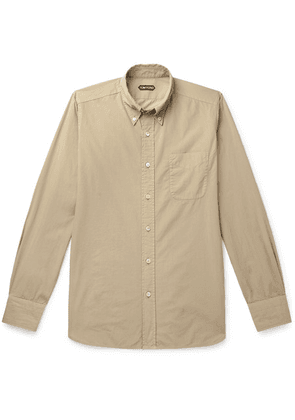 TOM FORD - Slim-fit Button-down Collar Cotton Shirt - Beige