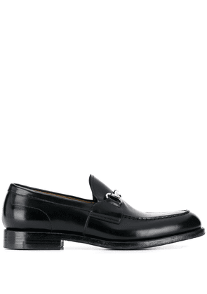 Green George buckle classic loafers - Black