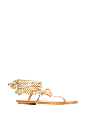 Forte Forte rope tie ankle sandals - Gold