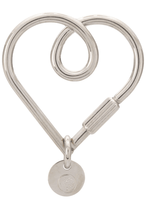 Mulberry Looped Heart Keyring - Silver