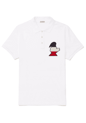 Moncler - Slim-fit Logo-appliquéd Cotton-piqué Polo Shirt - White