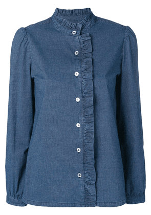 A.P.C. quilted ruffled denim shirt - Blue