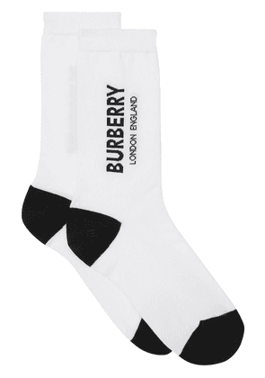 Burberry Logo Intarsia Cotton Blend Socks - White