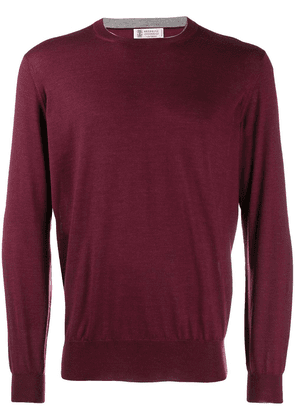 Brunello Cucinelli round neck knitted jumper - Red