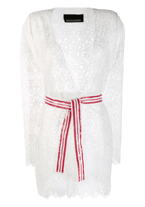 Ermanno Scervino belted lace cardigan - White
