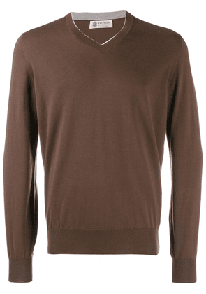 Brunello Cucinelli v-neck knitted jumper - Brown
