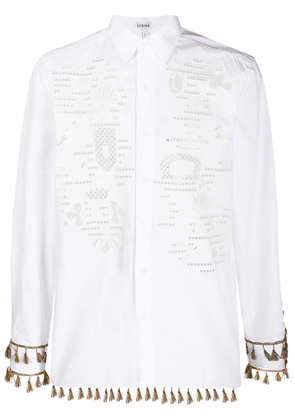 Loewe embroidered tassel shirt - White