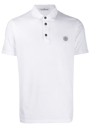 Stone Island logo patch polo shirt - White