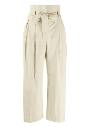 Pt01 high waisted cropped trousers - Neutrals
