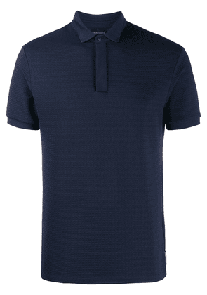 Emporio Armani textured polo shirt - Blue