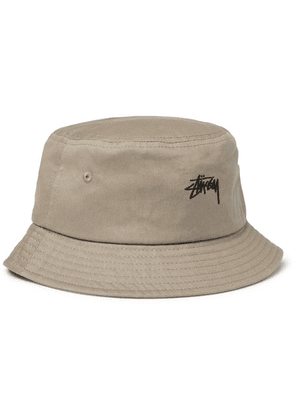 Stüssy - Logo-embroidered Cotton-canvas Bucket Hat - Taupe