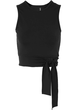 Live The Process - Ballet Cropped Tie-front Stretch-supplex Top - Black