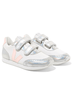 Veja Kids - Size 28 - 35 Arcade Mesh And Iridescent Leather Sneakers