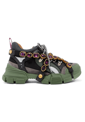 Gucci - Flashtrek Embellished Logo-embossed Mesh, Leather And Suede Sneakers - Forest green
