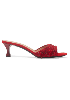 Brock Collection - + Tabitha Simmons Beaded Canvas Mules - Brick