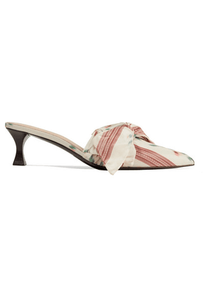 Brock Collection - + Tabitha Simmons Bow-embellished Printed Taffeta Mules - White