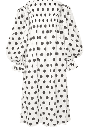 Sleeper - Atlanta Off-the-shoulder Shirred Polka-dot Linen Midi Dress - White