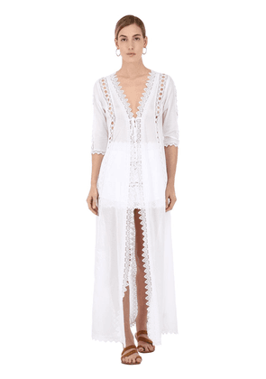 Cotton Voile And Lace Caftan