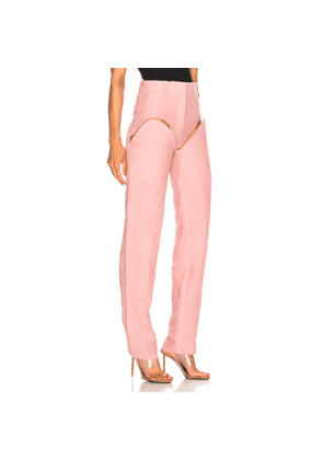 Y/Project Front Cut Tailored Pant in Pink