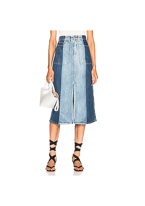 Proenza Schouler PSWL Slit Denim Skirt in Blue