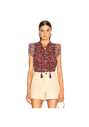 Ulla Johnson Opal Top in Brown,Floral,Pink