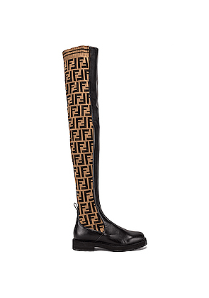 Fendi Logo Over the Knee Boots in Brown,Novelty