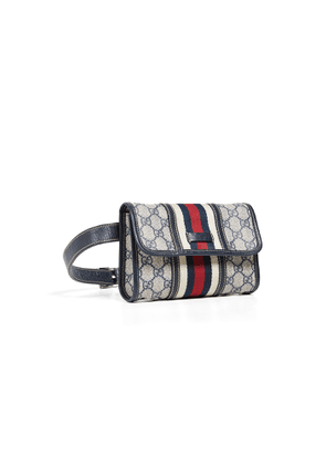 What Goes Around Comes Around Gucci Navy Coated Canvas Waist Pouch