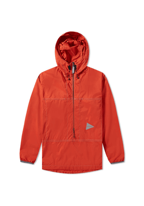 And Wander Pertex Wind Popover Jacket Orange
