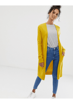 Brave Soul longline cardigan with pockets in mustard