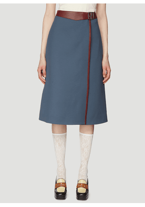 Gucci Leather Trimmed Wrap Skirt in Blue size IT - 42
