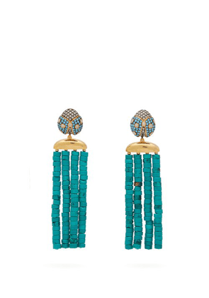 Begum Khan - Ladybug Turquoise Stone Clip Earrings - Womens - Blue