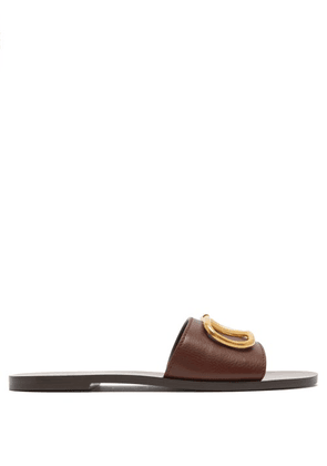 Valentino - Go Logo Leather Slides - Womens - Brown