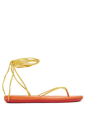 Ancient Greek Sandals - Spaghetti Wrap Around Sandals - Womens - Yellow Multi