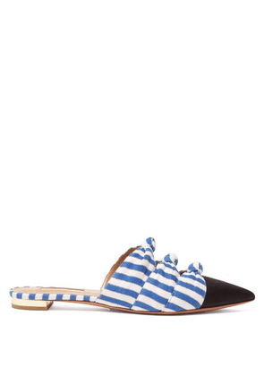 Aquazzura - Mondaine Knotted Striped Backless Loafers - Womens - Blue White