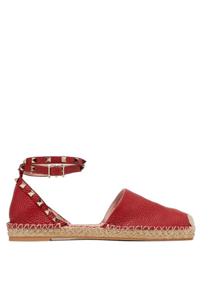Valentino - Rockstud Wraparound Strap Leather Espadrille Flats - Womens - Red
