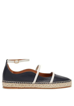 Malone Souliers - Selina Waved Edge Leather Espadrilles - Womens - Navy