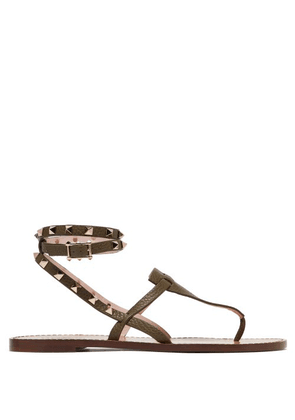 Valentino - Rockstud Embellished Grained Leather Sandals - Womens - Khaki