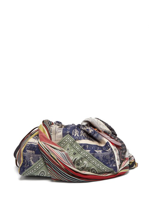 Acne Studios - Patchwork Printed Twill And Silk Shoulder Bag - Womens - Blue Multi