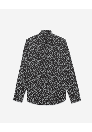 The Kooples - shirt with printed, black and white bandanna motif - bla