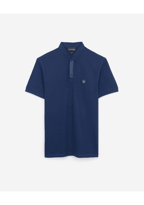 The Kooples - navy blue polo shirt with stand-up collar and grosgrain placket - ble