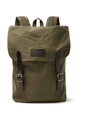 Filson - Ranger Leather-trimmed Twill Backpack - Army green