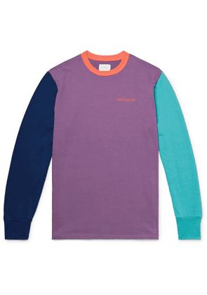 Aimé Leon Dore - Logo-embroidered Colour-block Cotton-jersey T-shirt - Purple