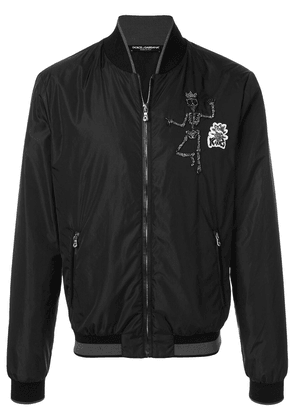 Dolce & Gabbana skull patch bomber jacket - Black