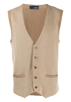 Lardini ribbed slim knit vest - Neutrals
